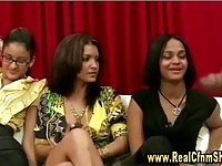 Black dude jerking in front of three babes